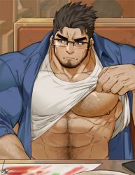 1boy, abs, bara, bare pecs, beard, black-framed eyewear, blue shirt, blush, chest hair, erect nipples, facial hair, glasses, gomtang, hairy, large pectorals, looking to the side, male focus, mature male, muscular, muscular male, navel, navel hair, nipples, original, shirt, shirt lift, short hair, solo, stomach, sweatdrop, table, taut clothes, taut shirt, thick eyebrows, upper body, white shirt
