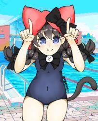 black bow, blue eyes, blush, bow, braid, cat (nyanko daisensou), cat tail, fingers together, highres, hip focus, hood, minya (nyanko daisensou), mymtneko, navel, nyanko daisensou, school swimsuit, smile, swimsuit, tail