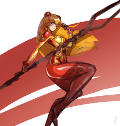 1girl, artist request, blue eyes, breasts, curvy, evangelion: 2.0 you can (not) advance, highres, holding, holding weapon, lance of longinus, long hair, looking at viewer, neon genesis evangelion, orange hair, plugsuit, polearm, rebuild of evangelion, shiny, shiny clothes, shiny hair, soryu asuka langley, test plugsuit, twintails, very long hair, weapon