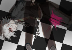 1boy, arms behind back, broken, broken chain, brown jacket, brown pants, chain, chains, checkered, checkered floor, circle, collar, commentary request, danganronpa (series), danganronpa another episode: ultra despair girls, fake whiskers, grey hair, highres, jacket, kabedan (yasai oisidaro), komaeda nagito, lying, male focus, messy hair, metal collar, official alternate costume, on floor, on side, paint on face, pants, pink blood, pov, shirt, short hair, solo focus, striped, striped shirt, tile floor, tiles