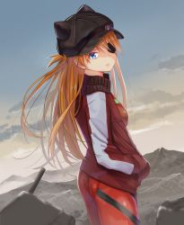 1girl, ass, bangs, black eyepatch, black headwear, blue eyes, bodysuit, breasts, commentary request, cowboy shot, day, eyepatch, from side, hair ornament, highres, jacket, long hair, looking at viewer, looking to the side, medium breasts, mountainous horizon, nanashi (74 nanashi), neon genesis evangelion, orange hair, outdoors, pilot suit, plugsuit, red bodysuit, red jacket, solo, soryu asuka langley, standing, white jacket