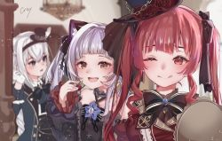 3girls, :d, ;q, animal ear fluff, animal ears, bangs, black dress, black headwear, black neckwear, blue eyes, blue jacket, blunt bangs, bow, bowtie, braid, braided ponytail, breasts, cat ears, cherry, choker, commentary request, cray, criss-cross halter, detached sleeves, dress, drill hair, flower, food, frilled choker, frills, fruit, gloves, gothic lolita, hair ribbon, hairband, halter dress, halterneck, hat, hat flower, holding, holding food, holding fruit, hololive, houshou marine, jacket, lolita fashion, long hair, long sleeves, looking at viewer, medium breasts, mini hat, mini top hat, multiple girls, murasaki shion, one eye closed, open mouth, red dress, red eyes, red hair, ribbon, shirakami fubuki, sidelocks, silver hair, smile, teeth, tongue, tongue out, top hat, twin drills, twintails, upper teeth, virtual youtuber, white gloves, white hair, wide sleeves, yellow eyes