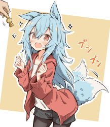 1girl, :d, absurdres, animal ears, black legwear, candy, commission, excited, fang, food, hamigakikoice, highres, hood, hood down, hoodie, light blue hair, light brown eyes, long hair, long sleeves, open clothes, open hoodie, open mouth, original, out of frame, pantyhose, shirt, short shorts, shorts, skeb commission, skin fang, smile, tail, tail wagging, white shirt