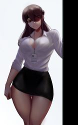 1girl, absurdres, beidou (genshin impact), black skirt, breasts, brown eyes, brown hair, cleavage, closed mouth, eyepatch, formal, genshin impact, highres, large breasts, looking at viewer, office lady, panties, shirt, skirt, skirt suit, smirk, solo, standing, suit, thigh gap, underwear, white shirt, zaki (zaki btw)