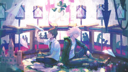 2boys, absurdres, ahoge, bangs, black hair, bottle, brown hair, card, clover, coat, collared shirt, computer, copyright name, danganronpa (series), danganronpa 2: goodbye despair, four-leaf clover, from side, green coat, green neckwear, highres, hinata hajime, holding, huge filesize, iei, impaled, indian style, knee up, komaeda nagito, male focus, multiple boys, necktie, open clothes, pants, paper, paper airplane, playing card, print shirt, shirt, shoes, short hair, short sleeves, sitting, sneakers, spoilers, white hair, white shirt, zhuo ying