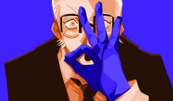 1boy, :o, bespectacled, black jacket, black neckwear, black suit, blonde eyebrows, blonde hair, blue background, blue gloves, chainsaw man, collared shirt, eyebrows, forehead, formal, gesture, glasses, gloves, hand signs, hand to own mouth, jacket, ki wo tsukena, kusakabe (chainsaw man), long sleeves, looking at viewer, male focus, necktie, open mouth, pale skin, shirt, short hair, sleeves past elbows, solo, solo focus, suit, white shirt, wide-eyed, yellow eyes