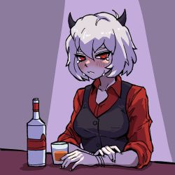 1girl, alcohol, arms on table, backlighting, black horns, black nails, black vest, blush, bob cut, bottle, bracelet, ceiling light, closed mouth, collarbone, collared shirt, cup, demon girl, demon horns, drinking glass, eyebrows behind hair, frown, half-closed eyes, helltaker, highres, horns, jamsubu, jewelry, looking at viewer, malina (helltaker), messy hair, nail polish, open collar, red eyes, red shirt, shirt, short hair, shot glass, simple background, sitting, sleeves rolled up, spotlight, tears, vest, waistcoat, white hair