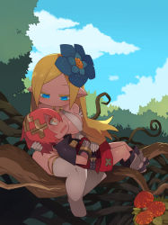 1boy, 1girl, bangs, belt, black belt, black footwear, blonde hair, blue eyes, blue flower, blue sky, blush, boots, breasts, capelet, chibi, cloud, commentary request, day, elbow gloves, flower, gauntlets, glint, gloves, hair between eyes, hair flower, hair ornament, hand on another's stomach, highres, holding another's head, kometsubu, large breasts, long hair, looking at another, lying, lying on lap, mushroom, o-ring, o-ring top, on back, on lap, orange eyes, original, outdoors, parted bangs, pointy ears, profile, red hair, red mushroom, red shorts, shorts, sitting, sitting on branch, sky, thighhighs, tree, underwear, white gloves, white legwear