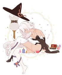 1girl, absurdres, bare shoulders, black footwear, black legwear, bottle, breasts, brown eyes, cleavage, closed mouth, collarbone, cookie run, cup, curly hair, dal-gi, dark skin, dark skinned female, dress form, dressing, elbow gloves, from side, full body, gloves, hat, hat removed, headwear removed, high heels, highres, humanization, jewelry, latte cookie, leotard, long hair, looking down, music box, necklace, pearl necklace, perfume bottle, profile, ribbon, saucer, shawl, shoes, sideways mouth, single shoe, sitting, smile, solo, spoon, strapless, strapless leotard, striped, striped ribbon, teacup, thighhighs pull, very long hair, white gloves, white hair, witch hat