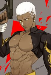 1boy, 2f sq, bare pecs, closed mouth, cornrows, dark skin, dark skinned male, emiya alter, fate/grand order, fate (series), grey background, gun, holding, holding gun, holding weapon, looking at viewer, male focus, muscular, shrug (clothing), solo, twitter username, upper body, weapon, white hair, yellow eyes