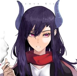 1girl, bangs, between fingers, black jacket, cigarette, cizzi, copyright name, copyright request, curled horns, english text, eyebrows visible through hair, hair between eyes, hand up, holding, holding cigarette, horns, jacket, long hair, parted lips, purple hair, red eyes, red scarf, scarf, shirt, simple background, smoke, solo, upper body, white background, white shirt