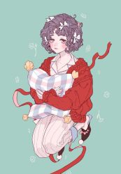 1girl, aqua background, blush, bow, bow footwear, brown footwear, cardigan, collarbone, collared shirt, fingernails, flower, full body, hair bow, highres, long sleeves, looking at viewer, messy hair, nose, nostrils, original, pajamas, pants, pillow, pillow hug, pink bow, pink eyes, pom pom (clothes), red cardigan, ribbon, rocoa, shirt, shoes, short hair, simple background, sleepwear, sleeves past wrists, slippers, solo, striped, striped pants, vertical stripes, white bow, white pants, white shirt