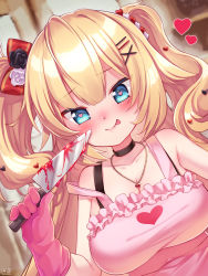 1girl, :p, akai haato, apron, bangs, bare shoulders, black choker, blonde hair, blood, bloody knife, blue eyes, blush, bow, breasts, choker, collarbone, commentary request, flower, frilled apron, frills, gloves, hair bow, hair flower, hair ornament, heart, heart-shaped pupils, heart hair ornament, heart pendant, highres, holding, holding knife, hololive, knife, long hair, looking at viewer, magowasabi, medium breasts, pink apron, pink gloves, signature, smile, solo, symbol-shaped pupils, tongue, tongue out, twitter username, two side up, virtual youtuber, x hair ornament