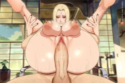 Rule 34 | 1boy, 1girl, afterimage, areolae, ass, biting, blonde hair, bouncing breasts, breasts, completely nude, fucked silly, full nelson, hetero, indoors, krabby (artist), large areolae, large breasts, large penis, legs up, lip biting, long hair, looking at viewer, nail polish, naruto, naruto (series), naughty face, nude, penis, pussy, red nails, sex, sitting, smile, speed lines, testicles, tsunade, uncensored, vaginal