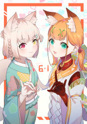 2girls, :3, :d, absurdres, android, animal ear fluff, animal ears, bangs, blue kimono, blunt bangs, character request, closed mouth, dated, eyeshadow, fingernails, fox ears, fox shadow puppet, fox tail, green eyes, grey hair, hair ornament, hairclip, heterochromia, highres, japanese clothes, jiliang jiying yumao, joints, kimono, looking at viewer, low twintails, makeup, medium hair, multiple girls, obi, open mouth, orange hair, pink sash, red eyes, robot, robot joints, sash, side braids, smile, sumire hina, tail, twintails, virtuareal, x hair ornament, yellow eyes