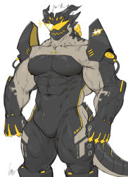 Rule 34   1boy, armor, bara, bulge, character request, check copyright, clothing cutout, colored skin, copyright request, covered abs, covered navel, erect nipples, erection, erection under clothes, feet out of frame, gomtang, grey skin, horned headwear, impossible clothes, large pectorals, male cleavage, male focus, monster boy, muscular, muscular male, original, pauldrons, short hair, shoulder armor, solo, sparkle, standing, sunglasses, taut clothes, thick thighs, thigh cutout, thighs, veins, zipper