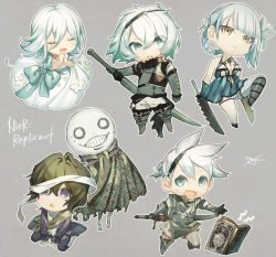 aqua bow, bandage, bandaged leg, bandaged neck, bandages, blue eyes, book, bow, brown hair, chibi, clenched hand, cloak, closed mouth, copyright name, dress, dress flower, emil (nier), eyebrows visible through hair, eyes closed, eyes visible through hair, film grain, floral print, flower, fur trim, grey background, hair between eyes, hair flower, hair ornament, hands together, holding, holding sword, holding weapon, kaine (nier), long hair, m/g, mismatched legwear, nier, nier (series), nier (young), open book, open mouth, outline, parted lips, patterned, patterned clothing, purple eyes, reverse grip, sash, scarf, signature, simple background, sweat, sword, tongue, torn, torn cloak, torn clothes, weapon, white dress, white flower, white hair, white outline, yellow eyes
