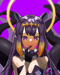 1girl, absurdres, bare shoulders, black gloves, blush, eyebrows behind hair, finger to mouth, fuchi (fuchi 1106), fur choker, gloves, halo, highres, hololive, hololive english, huge filesize, long hair, looking at viewer, ninomae ina'nis, open mouth, pointy ears, purple background, purple hair, solo, tentacle, tentacle hair, upper body, virtual youtuber