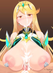 Rule 34 | 1boy, 1girl, after paizuri, areolae, artist name, bangs, bare shoulders, black background, blonde hair, breast grab, breast hold, breasts, brown background, censored, cleavage, earrings, gem, gloves, grabbing, gradient, gradient background, hair ornament, headpiece, highres, huge breasts, jewelry, large areolae, large breasts, legs, long hair, looking at viewer, mythra (xenoblade), navel, nintendo, nipples, paizuri, pen (pen3), penis, simple background, staring, swept bangs, tiara, tsundere, very long hair, xenoblade chronicles (series), xenoblade chronicles 2, yellow eyes