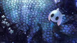 1girl, animal ears, cloak, commentary, english commentary, flower, fusion, highres, hollow knight, hololive, hololive english, knight (hollow knight), ninomae ina'nis, ninomae ina'nis (artist), rain, solo