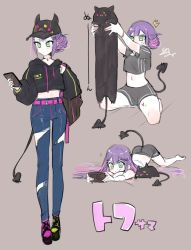 1girl, 1other, ^^^, adapted costume, adidas, alternate costume, alternate hairstyle, ass, backpack, bag, baseball cap, belt, bibi (tokoyami towa), black jacket, bracelet, casual, cellphone, choker, crop top, cropped jacket, demon tail, denim, green eyes, green nails, grin, hair bun, hair down, hair ornament, hair up, hairclip, hat, highres, holding, holding phone, hololive, isuka, jacket, jeans, jewelry, longcat, looking at phone, lying, mismatched footwear, multicolored, multicolored hair, multicolored nails, multiple views, nail polish, navel, on bed, on floor, on stomach, pants, paws, phone, piercing, pink nails, purple hair, shorts, sidelocks, signature, simple background, sketch, smartphone, smile, squatting, streaked hair, sweatdrop, tail, tail ornament, tail piercing, tan background, tokoyami towa, torn clothes, torn jeans, torn pants, translated, tsurime, two-tone hair