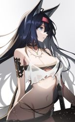 1girl, animal ears, arknights, arm tattoo, bikini, bikini bottom, black hair, black tubetop, blaze (arknights), blue eyes, eyebrows visible through hair, fang, floating hair, hairband, highres, leaning to the side, long hair, looking to the side, midriff, navel, ness (pjw0168), open mouth, red hairband, solo, strapless, swimsuit, tattoo, tubetop, white bikini, wolf ears, wolf girl