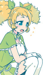 1girl, aikatsu!, aikatsu! (series), arm rest, arms on knees, blonde hair, blue eyes, blush, bow, breasts, cleavage, close-up, flying sweatdrops, frilled skirt, frills, from side, gradient hair, green bow, green hair, green jacket, green skirt, green theme, hair bow, idol, jacket, knees up, large breasts, looking to the side, mizuki maya, multicolored hair, open mouth, pleated skirt, saegusa kii, sigh, simple background, sitting, skirt, solo, striped, striped neckwear, striped skirt, thighhighs, wavy mouth, white background, white stripes