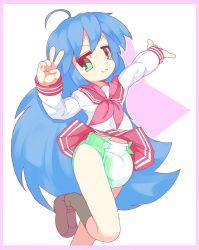 Rule 34 | 1girl, blue hair, diaper, green eyes, highres, izumi konata, long hair, lucky star, school uniform, serafuku, skirt, skirt up, very long hair