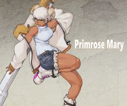 1girl, absurdres, boots, breasts, character name, commentary request, cutoffs, dark skin, dark skinned female, denim, denim shorts, goat horns, green eyes, highres, holding, holding weapon, horns, huge filesize, huge weapon, jacket, leg up, medium breasts, muscular, muscular female, off shoulder, open clothes, open jacket, open mouth, original, over shoulder, primrose mary, short hair, shorts, simple background, skinnytorch, sleeveless, sleeveless turtleneck, solo, sweater, thick thighs, thighs, turtleneck, turtleneck sweater, unzipped, weapon, weapon over shoulder, white footwear, white hair, white jacket, white sweater, zipper pull tab