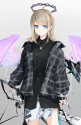 1girl, :3, absurdres, ace kin, ahoge, angel, angel wings, black nails, blonde hair, blue eyes, braid, chain halo, closed mouth, creature, cross, cross earrings, cross necklace, earrings, feathered wings, fingernails, gradient, gradient background, halo, highres, jacket, jewelry, medium hair, nail polish, necklace, open clothes, open jacket, original, plaid, purple wings, ribbon, scabbard, sheath, sheathed, sleeves past wrists, smile, solo, sword, weapon, white ribbon, wings, x