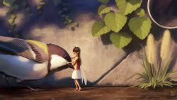 1girl, antennae, bird, bird request, brown hair, eyes closed, fairy, fairy wings, great tit, hands on another's head, ivy, leaf, long hair, minigirl, noske, original, pink footwear, pink shirt, pipes, shirt, skirt, standing, white skirt, wings