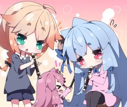 &gt; &lt;, 3girls, :d, > <, ahoge, bare shoulders, black bow, black legwear, black shirt, black shorts, blue hair, blue ribbon, bow, braid, brown hair, cat hair ornament, collarbone, collared dress, commentary request, dress, eyes closed, fang, feet out of frame, flying sweatdrops, hair bow, hair ornament, hair ribbon, holding, holding instrument, instrument, kindergarten uniform, kotonoha akane, kotonoha aoi, milkpanda, multiple girls, music, notice lines, off-shoulder shirt, off shoulder, one, one (cevio), open mouth, pink dress, pink hair, playing instrument, pointing, recorder, red eyes, ribbon, shirt, short shorts, shorts, siblings, single braid, sisters, sitting, smile, standing, thighhighs, voiceroid, xd