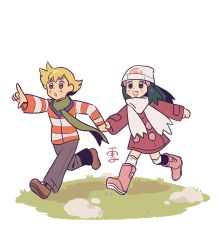 1boy, 1girl, :o, bangs, barry (pokemon), blonde hair, blush, boots, brown footwear, coat, commentary, cosmosully, creatures (company), dawn (pokemon), english commentary, game freak, grass, green scarf, grey eyes, grey pants, hair ornament, hairclip, hand up, highres, holding hand, jacket, long sleeves, nintendo, open mouth, orange eyes, over-kneehighs, pants, pink footwear, pokemon, pokemon (game), pokemon dppt, pokemon platinum, running, scarf, shoes, sidelocks, smile, thighhighs, white legwear, white scarf
