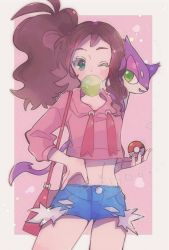 1girl, antenna hair, bag, bangs, blue shorts, blush, border, brown hair, bubble blowing, chewing gum, commentary request, creatures (company), eyelashes, game freak, gen 5 pokemon, green eyes, hand on hip, highres, hilda (pokemon), holding, holding poke ball, nintendo, ohds101, on shoulder, outside border, poke ball, poke ball (basic), pokemon, pokemon (creature), pokemon (game), pokemon bw, pokemon on shoulder, ponytail, purrloin, shorts, sidelocks, star (symbol), white border