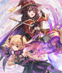 2girls, :d, armpits, artist name, asymmetrical sleeves, bangs, black choker, black dress, black gloves, black nails, blonde hair, bow, bowtie, breasts, brown cape, brown hair, brown headwear, cape, choker, commentary request, csyday, detached sleeves, dress, eyepatch, fingerless gloves, fingernails, fischl (genshin impact), genshin impact, gloves, green eyes, grin, hair ornament, hair ribbon, hat, holding, holding staff, kono subarashii sekai ni shukufuku wo!, long hair, long sleeves, magic, medium breasts, medium hair, megumin, multiple girls, nail polish, open mouth, outstretched arm, oz (genshin impact), purple dress, purple neckwear, red dress, red eyes, ribbon, signature, single glove, smile, staff, standing, two-tone dress, two side up, v over eye, wide sleeves, witch hat