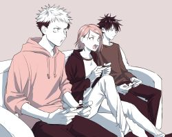 1girl, 2boys, absurdres, alternate costume, anger vein, asymmetrical hair, breasts, brown background, casual, closed mouth, commentary, couch, expressionless, fushiguro megumi, highres, hood, hoodie, itadori yuuji, jacket, joy-con, jujutsu kaisen, knee up, kugisaki nobara, long sleeves, medium breasts, monochrome, multicolored hair, multiple boys, open mouth, pants, playing games, sepia, shirt, short hair, shouting, simple background, sitting, spiked hair, tachibanakimi, two-tone hair