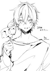 1boy, absurdres, bangs, cake, cake slice, collarbone, copyright request, ear piercing, earrings, eyebrows behind hair, food, fork, fruit, greyscale, hair between eyes, highres, holding, holding fork, jewelry, long sleeves, male focus, monochrome, piercing, shirt, signature, simple background, sleeves past wrists, sofra, solo, strawberry, translation request, twitter username, upper body, white background