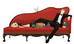 1boy, bag, barefoot, black footwear, bottle, bow, bowtie, box, couch, earrings, formal, gift, green hair, jewelry, leaning, male focus, one piece, red couch, red upholstery, roronoa zoro, shoes, simple background, sitting, slouch, solo, suit, undressing, white background