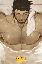 1boy, abs, bara, black hair, chest hair, completely nude, gomtang, hairy, large pectorals, male focus, mature male, muscular, muscular male, naked towel, navel hair, nipples, nude, one eye closed, original, partially submerged, rubber duck, short hair, sideburns, solo, towel, towel around neck, upper body, wet