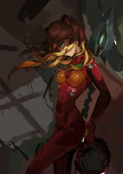 1girl, absurdres, artist request, breasts, curvy, evangelion: 3.0 you can (not) redo, green eyes, headwear removed, helmet, helmet removed, highres, holding, holding helmet, holding weapon, lance of cassius, long hair, looking at viewer, neon genesis evangelion, orange hair, plugsuit, polearm, rebuild of evangelion, shiny, shiny clothes, shiny hair, solo, soryu asuka langley, twintails, very long hair, weapon, wind