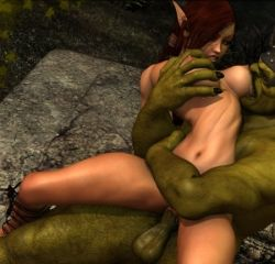 Rule 34   3d, breast biting, elf, fuck on lap, lowres, orc, sexy look, uncensored
