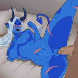 Rule 34 | 1boy, 1girl, absurdres, bed, bed sheet, biceps, blue skin, blush, breasts, colored skin, dahlia aquino, demon girl, demon horns, demon tail, female, female focus, hetero, highres, horns, interracial, large breasts, leg lift, long hair, monster prom, muscular, muscular female, nipples, nude, penis, pussy, sex, spread legs, tail, thick thighs, thighs, vaginal, white hair, yellow eyes
