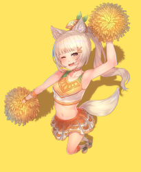 1girl, :3, ;d, animal ear fluff, animal ears, ashes, bangs, bare arms, bare shoulders, blunt bangs, blurry, cheerleader, choker, crop top, depth of field, dog ears, dog girl, dog tail, fang, foreshortening, from above, hair ornament, hairclip, high ponytail, highres, king's raid, light brown hair, long hair, looking at viewer, midriff, miniskirt, navel, no bra, one eye closed, open mouth, orange shirt, pleated skirt, pom poms, shirt, simple background, skin tight, skirt, smile, solo, tail, two-tone shirt, white skirt, x hair ornament, yellow background, yu mochi (kamiinu)