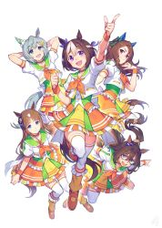 5girls, animal ears, arm up, arms behind head, bead necklace, beads, blue eyes, blush, breasts, brown hair, clenched hand, closed mouth, commentary, cropped jacket, domino mask, el condor pasa, eyebrows visible through hair, flower, frilled skirt, frills, full body, grass wonder, green ribbon, green skirt, hair between eyes, hair flower, hair ornament, hair ribbon, hand in hair, highres, horse ears, horse tail, index finger raised, jacket, jewelry, jumping, king halo, knees together feet apart, long hair, looking at viewer, mask, medium breasts, miniskirt, multicolored, multicolored clothes, multicolored hair, multicolored skirt, multiple girls, necklace, okada manabi, open mouth, orange footwear, orange neckwear, orange skirt, outstretched arms, pointing, ponytail, puffy short sleeves, puffy sleeves, purple eyes, purple ribbon, red eyes, ribbon, sailor collar, seiun sky, shirt, shoes, short hair, short sleeves, silver hair, simple background, skirt, small breasts, smile, special week, streaked hair, sweatband, tail, thighhighs, two-tone hair, umamusume, white background, white hair, white jacket, white legwear, white shirt, wristband, yellow skirt, zettai ryouiki
