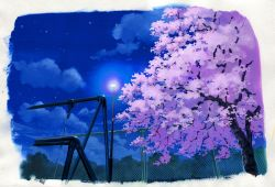 blue sky, border, chain-link fence, cherry blossoms, fence, highres, lamppost, night, night sky, no humans, original, outdoors, sawitou mizuki, scan, scenery, sky, swing, traditional media, tree, watercolor (medium), white border