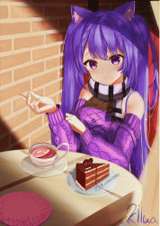 1girl, alternate costume, animal ears, artist name, bare shoulders, blush, brick wall, cake, casual, cat ears, chair, chocolate cake, cup, drink, food, genshin impact, heart, highres, keqing (genshin impact), kilua 715, long sleeves, looking at viewer, plate, purple eyes, purple hair, purple sweater, scarf, sitting, smile, solo, sweater, table, tea, teacup, twintails