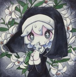 + +, 1girl, cross, cross necklace, dated, droplet, flower, grey eyes, habit, hands up, highres, holding, holding cross, jewelry, leaf, long sleeves, looking at viewer, medium hair, necklace, nun, original, signature, solo, tears, upper body, white flower, white hair, zukky000