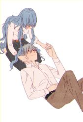 1boy, 1girl, ayanami rei, belt, blue hair, breasts, couple, evangelion: 3.0+1.0 thrice upon a time, grin, hand holding, hand on face, kneeling, laying, long hair, long sleeves, looking down, looking up, nagisa kaworu, neon genesis evangelion, rebuild of evangelion, red eyes, smile, white hair