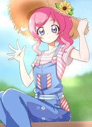 1girl, absurdres, blue overalls, blue sky, bush, commentary request, cowboy shot, day, expressionless, eyebrows visible through hair, flower, hat, hat flower, heart, high ponytail, highres, kiratto pri chan, light particles, long hair, looking at viewer, momoyama mirai, on bench, outdoors, overalls, pink hair, pink stripes, pretty (series), purple eyes, shirt, short sleeves, sidelocks, sitting, sitting on bench, sky, solo, straw hat, striped, striped shirt, sugimura mickey, sun hat, sunflower, suspenders, t-shirt, waving, white stripes, wooden bench