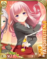 2girls, :d, alcohol, beer, blue hair, breasts, card (medium), chair, character name, closed mouth, dress, eyebrows visible through hair, girlfriend (kari), indoors, jewelry, looking at viewer, medium breasts, medium hair, multiple girls, necklace, night, office, official art, open mouth, pink hair, purple eyes, qp:flapper, red dress, shirt, sitting, smile, standing, table, tagme, teacher, yutenji yayoi